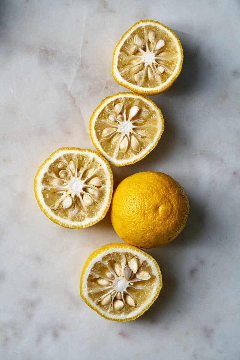 Yuzu citrus cut open.