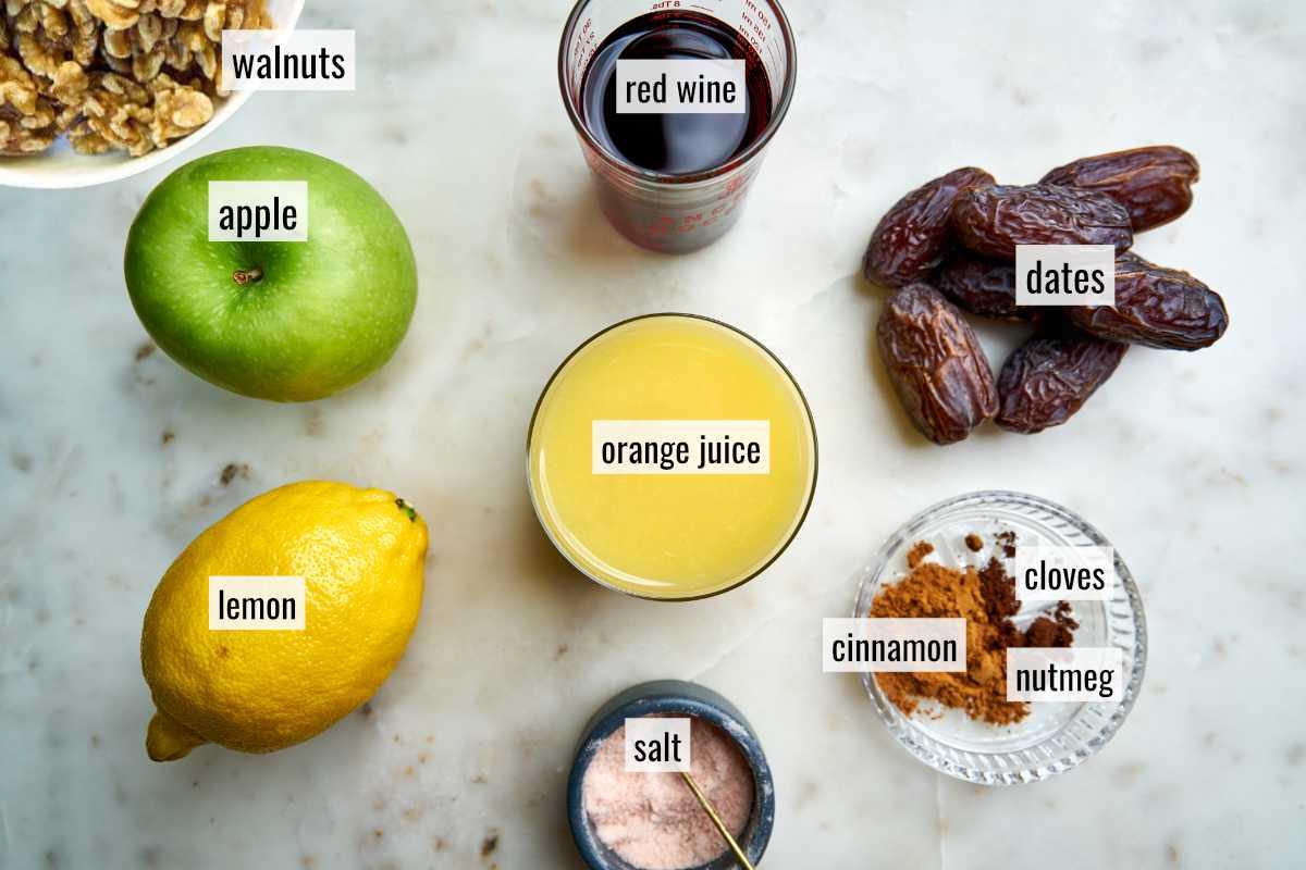 Ingredients for charoset.