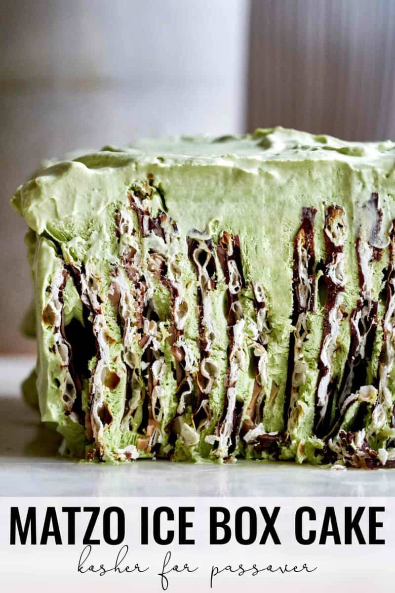 Sliced green icebox cake.