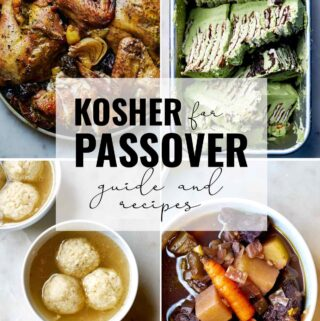 Collage of Passover dishes.
