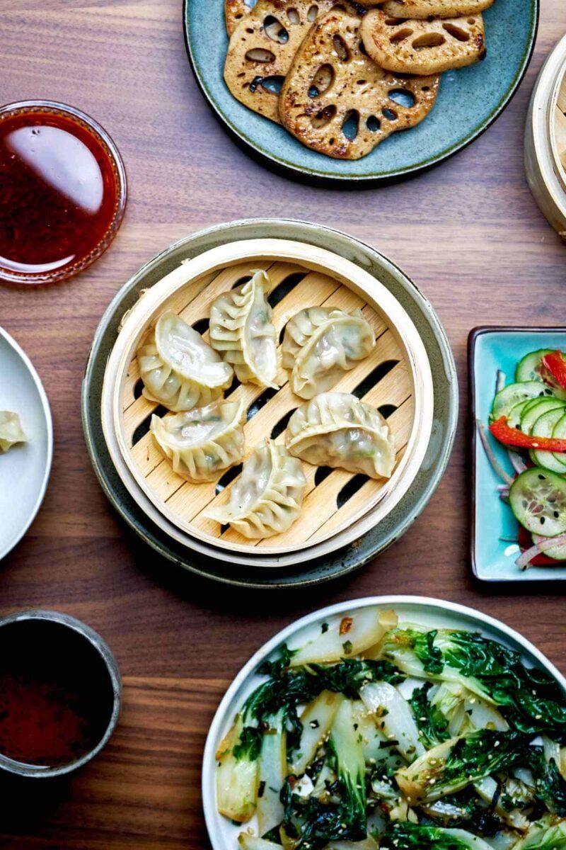 Dumpling dinner with sides.
