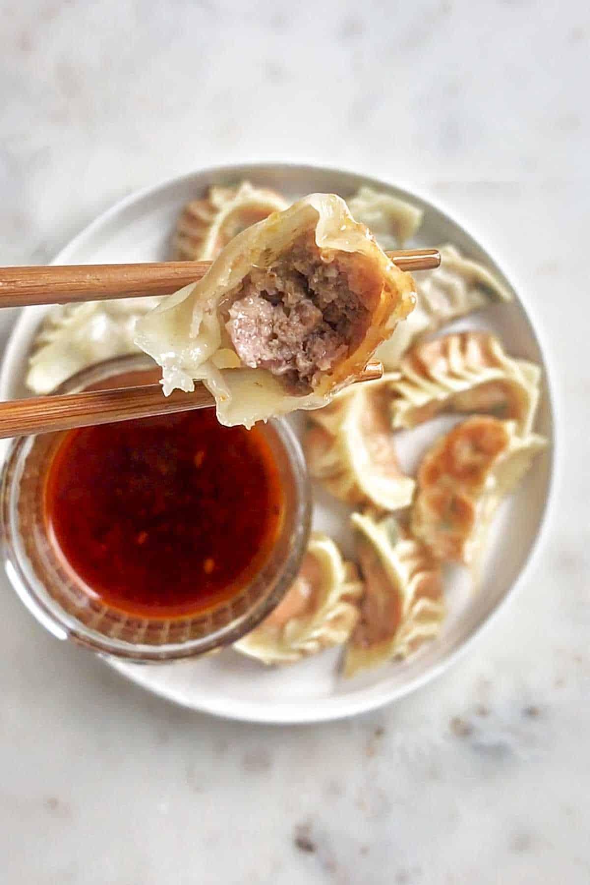 The inside of a meat filled dumpling.
