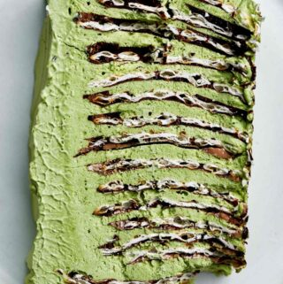 Slice of green ice box cake.