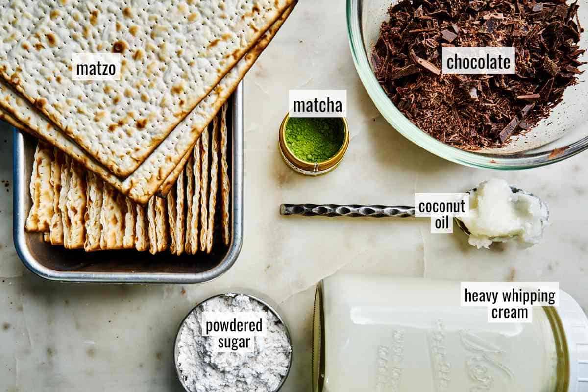 Ingredients for matzo cake.