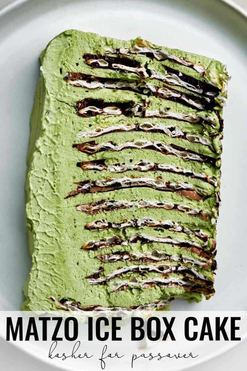 Slice of green ice box cake.
