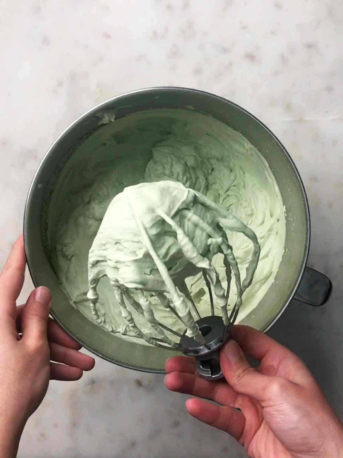 Green whipped cream.