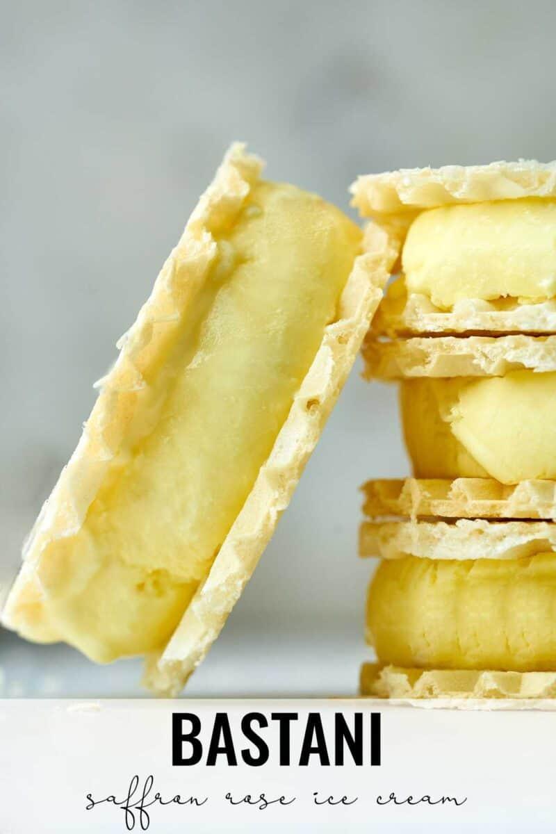 Stack of yellow ice cream sandwiches.
