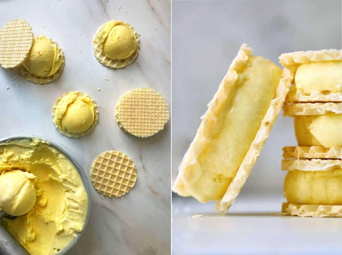 Yellow ice cream sandwiches.