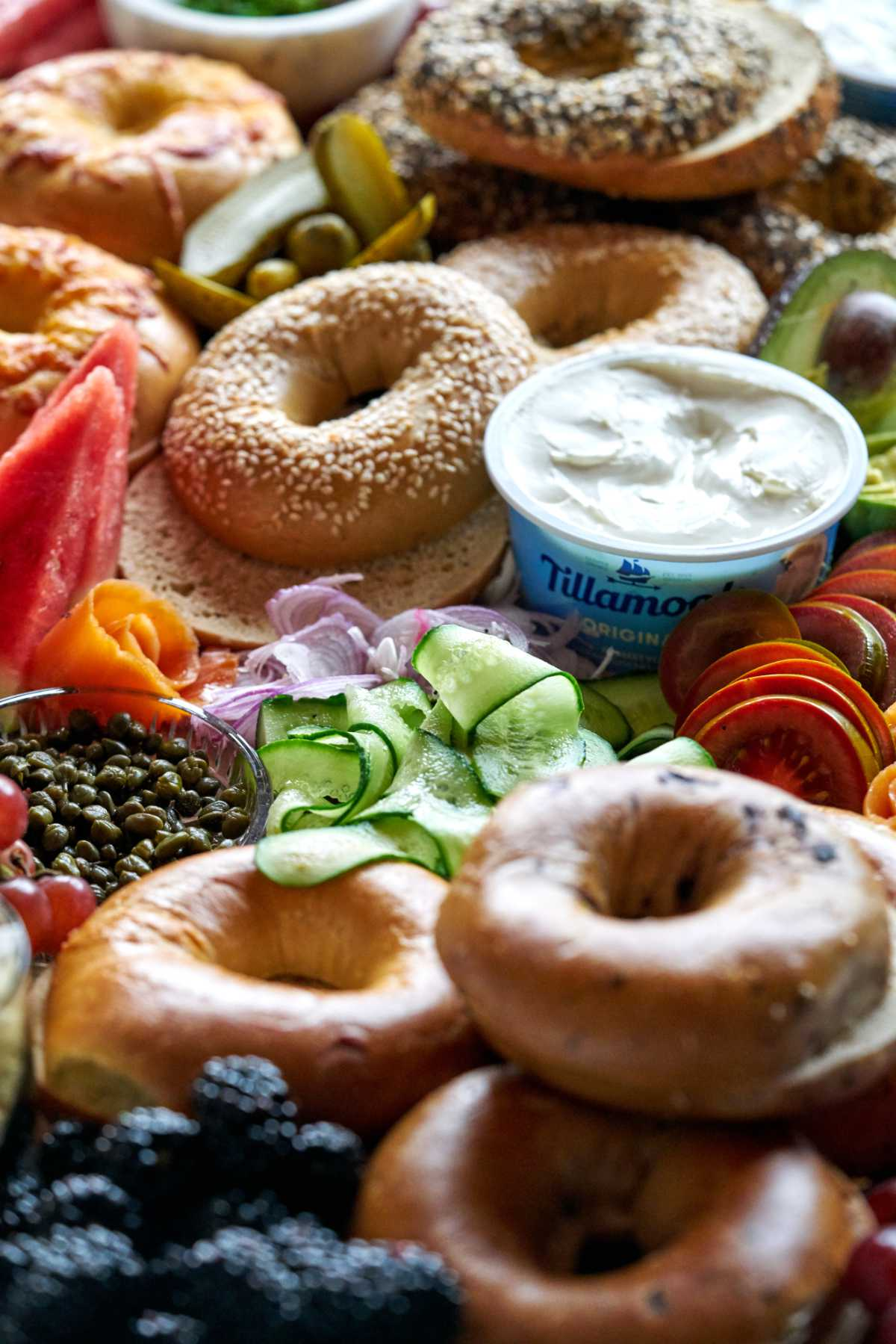 Bagel board with cream cheese.
