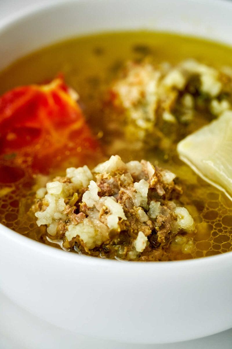 Close up of rice dumpling soup.
