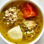 Bowl of dumpling soup.