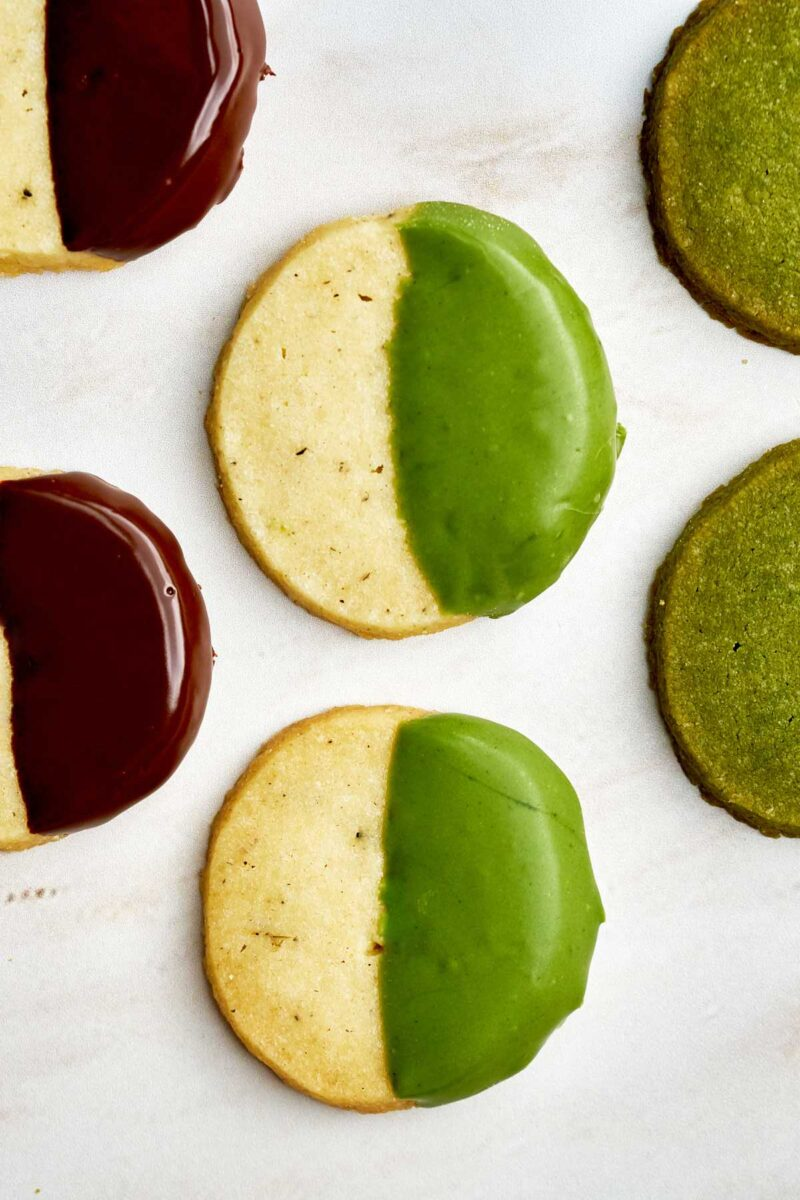 Green and chocolate dipped cookies.