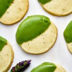 Green dipped shortbread cookies.