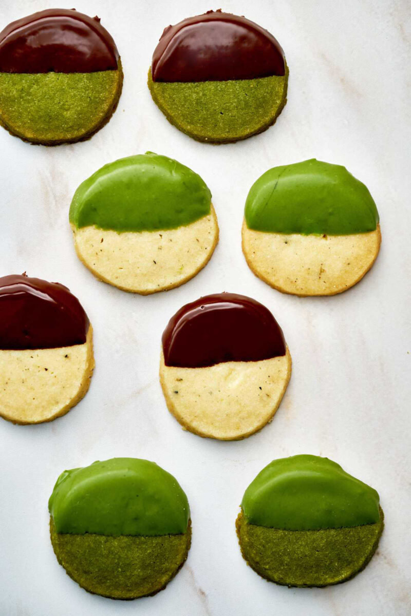 Chocolate and green dipped cookies.